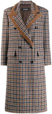 checked mid-length coat