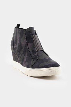 MIA Camo Wedge Sneaker | francesca's