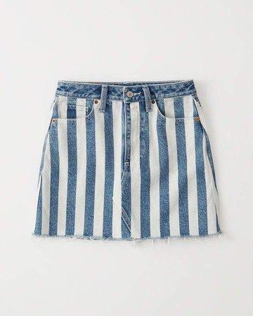 Striped Denim Mini Skirt