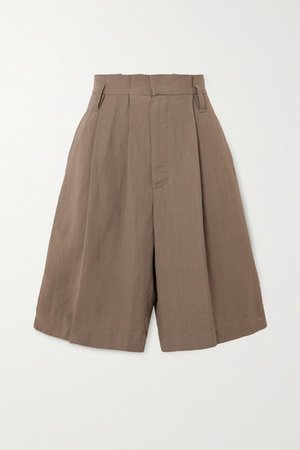 Space For Giants Pleated Twill Shorts - Beige