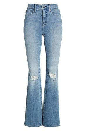 Good American Good Flare Ripped Jeans (Blue 501) (Regular & Plus Size) blue