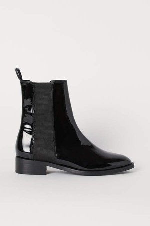 Patent Leather Boots - Black