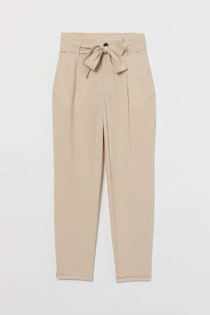 Paper-bag Pants - Beige