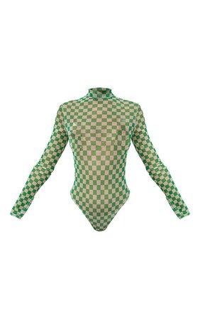Green Checkerboard Print Mesh High Neck Bodysuit | PrettyLittleThing USA