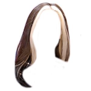 Dark Brown Hair With Blonde Bangs PNG