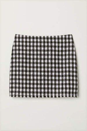 Textured-weave Skirt - Black