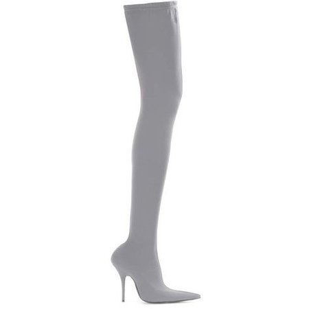 Knife over-the-knee boots Balenciaga (€1.360) ❤ liked on Polyvore featuring shoes, boots, balenciaga boots, balenciaga, grey over … | My Polyvore Finds | Grey over knee boots, Balenciaga boots, Thigh high boots