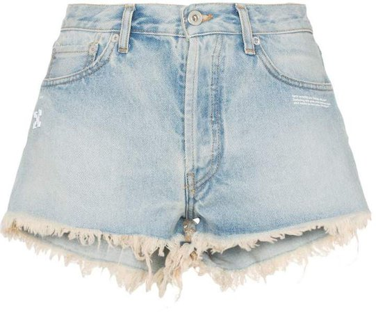 raw hem front logo denim shorts