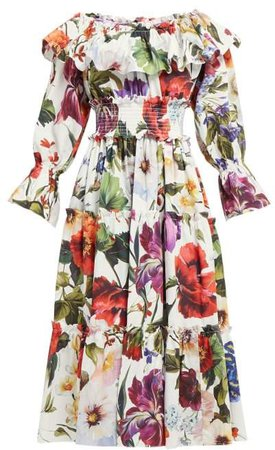 Floral Print Cotton Midi Dress - Womens - White Multi