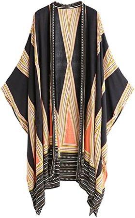 SweatyRocks Women Kimono Vintage Floral Beach Cover Up at Amazon Women's Clothing store