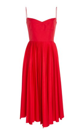 Pamela Pleated Cotton Midi Dress by Khaite | Moda Operandi