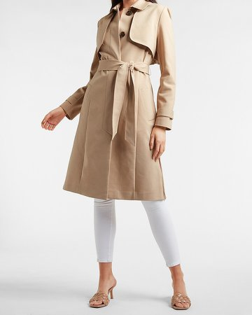 Belted Pleated Back Trench Coat