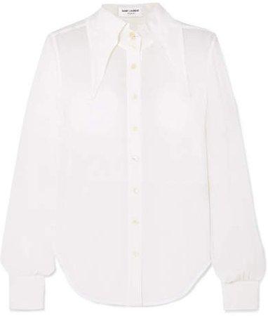 Silk-chiffon Blouse - White