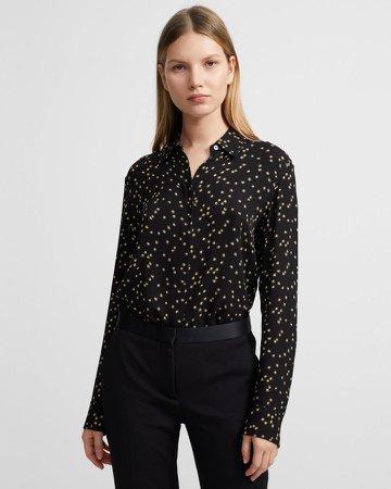 Straight Shirt in Star Print Silk