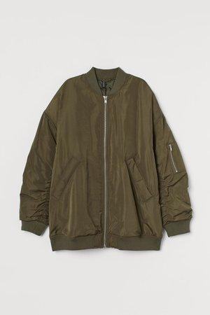 Padded Bomber Jacket - Dark khaki green - Ladies | H&M US