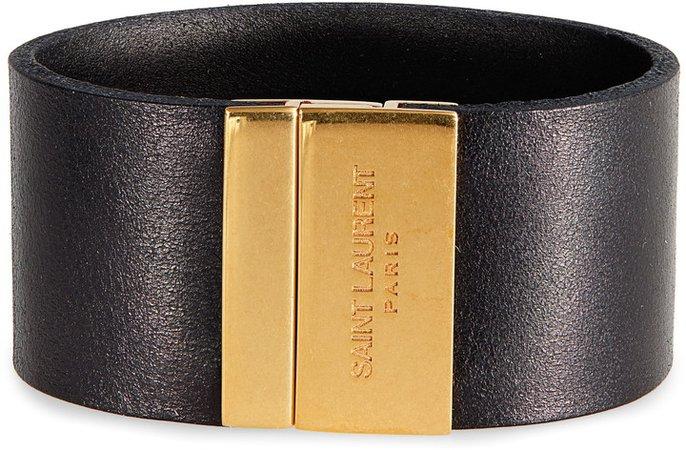 Logo Clasp Leather Cuff