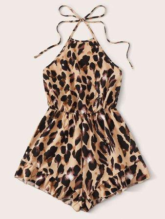 Leopard Print Tie Back Halter Romper   SHEIN USA