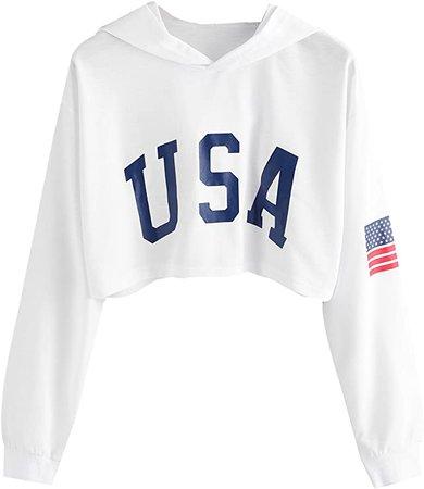 SweatyRocks Women's Letter Print Long Sleeve Crop Top Sweatshirt Hoodies at Amazon Women's Clothing store
