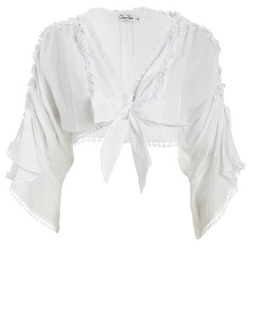 Charo Ruiz | Kissa Tie-Accented Cotton Blouse | INTERMIX®