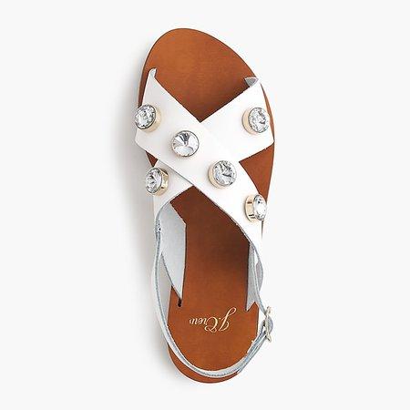 J.Crew: Cross-strap slingback sandals with jewels
