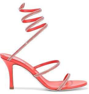 Rene' Caovilla Cleo Crystal-embellished Satin Sandals