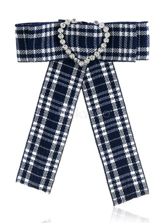 Bow Tie Brooches Dark Navy Plaid Costume Accessories Vintage British Women Beaded Ribbon Collar Jewelry