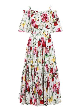 Dolce & Gabbana - Roses print cotton maxi dress - maxi dresses - F68E1T FS57S HAM62