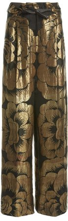 Tom Ford Floral-Print Metallic Pants