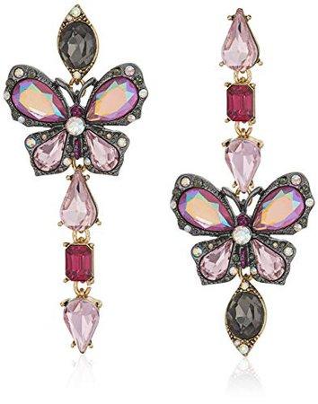 Betsey Johnson Butterfly Mismatch Linear Earrings, Purple, One Size: Clothing