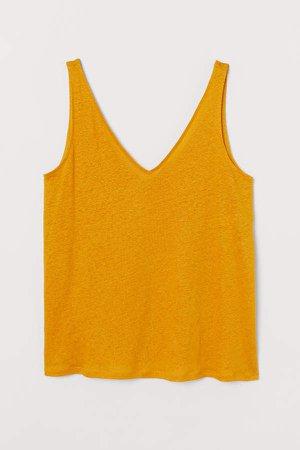 H&M+ Linen Jersey Tank Top - Yellow