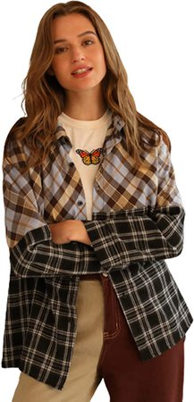 SweatyRocks Women's Long Sleeve Collar Long Button Down Plaid Shirt Blouse Tops at Amazon Women's Clothing store