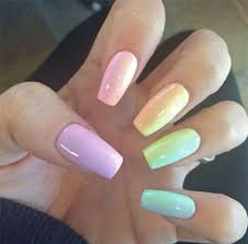 pastel rainbow acrylic nails - Google Search