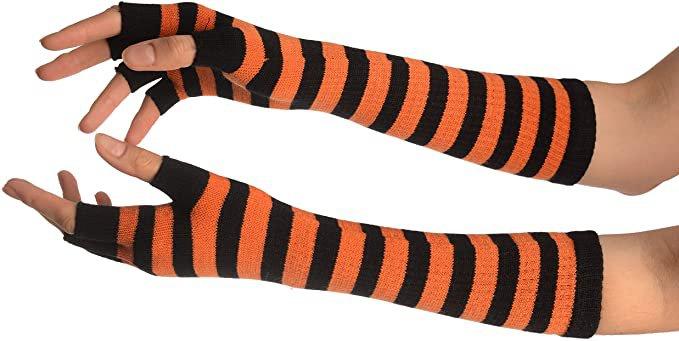 Orange & Black Stripes Fingerless Gloves - Gloves at Amazon Women's Clothing store
