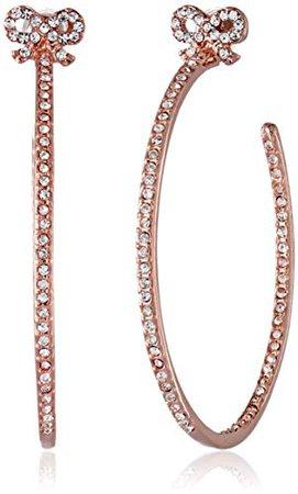 Betsey Johnson Medium Crystal Bow Rose Gold Hoop Earrings: Jewelry