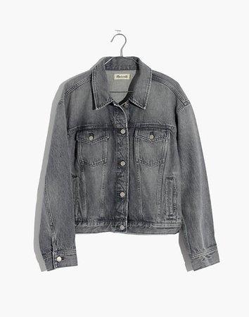 The Boxy-Crop Jean Jacket in Pale Grey