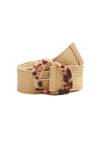 MANGO Braided tortoiseshell-effect belt