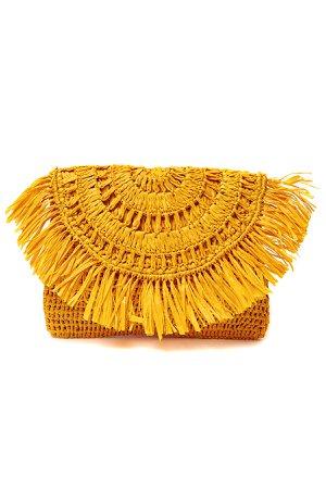Mar Y Sol's Bags Mia Fringe Trim Straw Clutch
