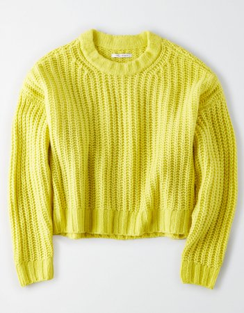 AE Cozy Crew Neck Sweater Yellow
