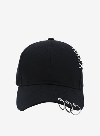 *clipped by @luci-her* Hoop Pierced Black Dad Cap