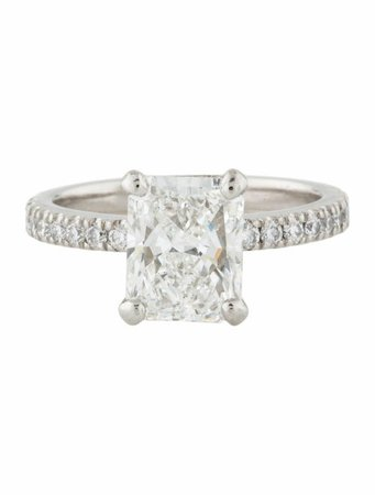 Engagement Ring Platinum 3.38ct Diamond Engagement Ring - Rings - ENGRI23387 | The RealReal