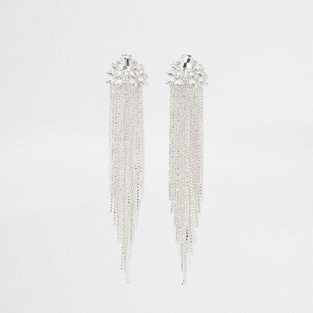 Silver colour tassel drop earrings | River Island