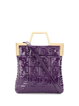 Fendi Embossed Ff Motif Tote Bag 8BH361A9X4 Purple | Farfetch