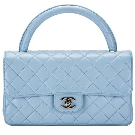 Chanel with Top Handle Classic Flap Rare Vintage Quilted Light Blue Lambskin Leather Shoulder Bag - Tradesy