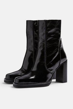 HALO Black Patent Leather Platform Boots | Topshop
