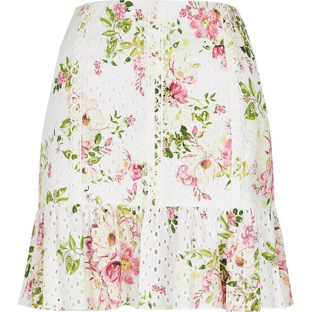 White broidery peplum mini skirt | River Island