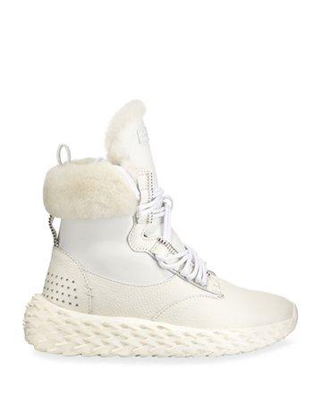 Giuseppe Zanotti Fur-Lined High-Top Sneakers, White