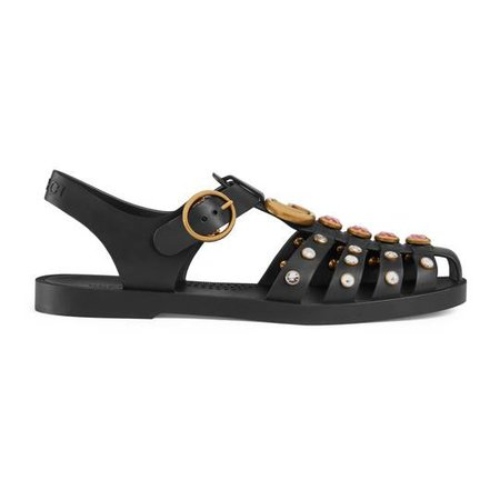 Rubber sandal with crystals - Gucci Women's Slides & Thongs 525355J87001000