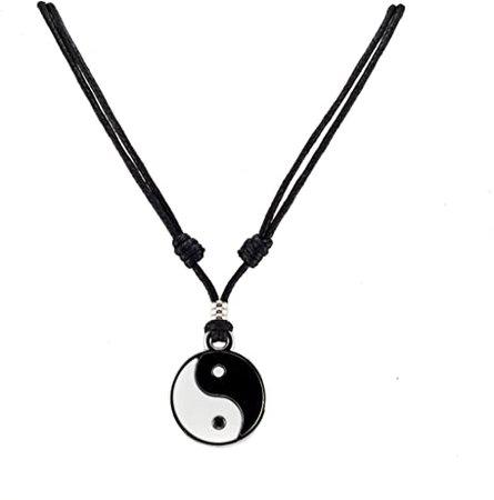 Amazon.com: BlueRica Yin Yang Pendant on Adjustable Black Rope Cord Necklace: Jewelry
