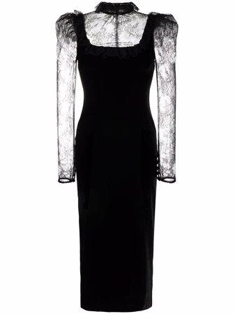 Alessandra Rich lace-overlay midi-dress - FARFETCH
