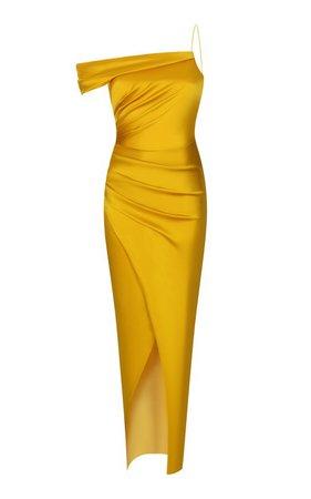 Gathered One-Shoulder Satin Gown by Rasario   Moda Operandi